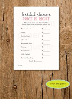"""INSTANT UPLOAD Bridal Shower Game """"The Price is Right"""" - Pink and Ivory -  Print Your Own by PaperEtiquette on Etsy"""