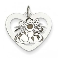 Sterling Silver Disney Tigger Heart Charm - by Samuels Jewelers