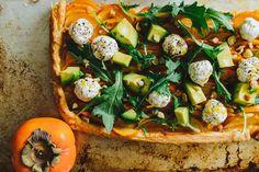 Savory Persimmon Tart with Goat Cheese Balls, Serrano, Avocado, Arugula