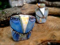 """Owl art sculpted from clay, """"Owl Person Dreaming the Sunset"""", 3-3/4"""" tall"""