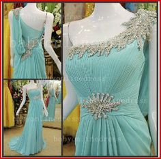 Chiffon Crystal One Shoulder Evening Dress 2013 Beading Ruffles Sash Sweep Train Prom Dresses_Cheap Dresses Online: Wholesale Wedding Dresses, Special Occasion Dresses from China Factory | 27Dress.com