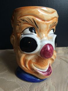 Weird Toby Clown Mug with Cockatiel Handle Made by oldfangledcool