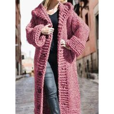 Solid Chunky knit Hooded Casual Long Cardigan (1002322445) - Sweaters - #322445 vencano Hooded Cardigan, Long Cardigan, Sweater Cardigan, Sweater Coats, Sweaters, Dress For Short Women, Pullover, Cardigans For Women, Hoods