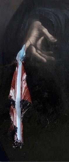 "Nicola Samorí - ""Begotten, Not Made"" series, D'Oria, 2014, oil on wood, 180 x 110 cm (detail)"