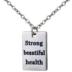 Workout Charm Necklace with Inspirational Quotes
