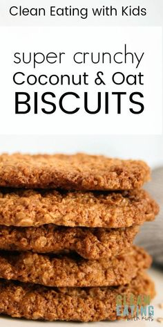 Clean Eating Crunchy Coconut & Oat Cookies - Clean Eating with kids : Clean Eating Coconut and Oat Biscuits. A Real food makeover of the classic anzac biscuit. Perfect for school lunches or dipped in a cuppa hot tea. Healthy Biscuits, Coconut Biscuits, Healthy Cookies, Healthy Sweets, Healthy Baking, Oat Slice Healthy, Coconut Cookies, Healthy Breakfasts, Healthy Food