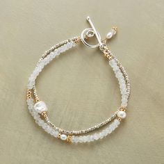 "MOONSTONE LUSTER BRACELET -- Sterling silver, cultured pearls and touches of 14kt goldfill bring luster and gleam to iridescent moonstones. Toggle clasp. Exclusive. Handmade in USA. 7-1/2""L."