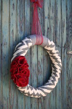 "Beautiful 14"" Door Wreath in Gray Chevron with Burgundy Color Accent. $35.00, via Etsy."