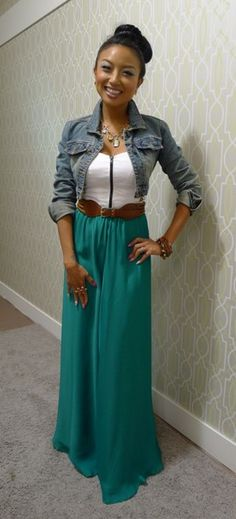 Jeannie Mai green maxi skirt, white tank, and jean jacket Jeannie Mai, Maxi Skirt Outfits, Maxi Skirts, Dress Skirt, Skirt Belt, Jacket Dress, Maxi Dresses, Chiffon Dress, Spring Summer Fashion