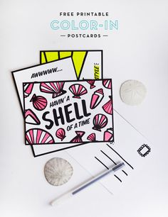 Free Printable Summer Color-in Postcards