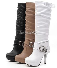 Plain Chunky High Heeled Round Toe Date Outdoor Knee High High Heels Boots - Mixed Shop High Heels Boots, Heeled Boots, Bootie Boots, Ankle Boots, Shoes Heels, Knee Boot, Dream Shoes, Crazy Shoes, Me Too Shoes