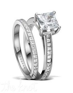 Style: R-3302 & R-3302/E. Platinum and princess cut eternity wedding set from Jeff Cooper. A delicate hand millgrain is applied to the top of each ring to add a vintage feel, and delicate brilliance. These stones are a perfect match for your princess cut diamond center. The matching eternity band, R-3302/E(0.78 ttl ct) is sold separately.