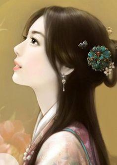 Chinese painting of beautiful woman (中国美人画) - ✯… Art Chinois, Art Asiatique, Beautiful Chinese Girl, Painting Of Girl, China Art, Chinese Culture, Chinese Painting, Fantasy Girl, Beauty Art
