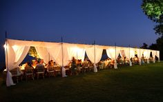 reception dining canopy - made of birch wood instead. Back sheers, fully closed.
