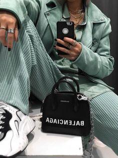 Balenciaga Bag girl, and looks Balenciaga Classic City Bag, Balenciaga City Bag, Floral City, Studded Bag, Grunge Fashion, Sport Fashion, Military Jacket, Women Wear, Style Inspiration