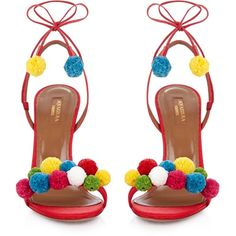 Aquazzura Raffia Pon Pon sandals (2.645 RON) ❤ liked on Polyvore featuring shoes, sandals, rainbow footwear, braided rainbow sandals, pom pom shoes, aquazzura and woven sandals
