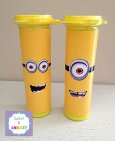 Mini M&M's Tube Wrappers - Minions / Despicable Me / Party Favours / Lolly Tubes.  Make your own - by Sweet & Snazzy.  Feel free to visit us at www.facebook.com/sweetandsnazzy