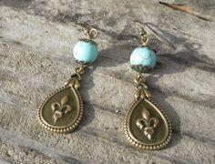 Turquoise Fleur de Lis Earrings Brass Magnesite by TeslaDesigns, $12.00