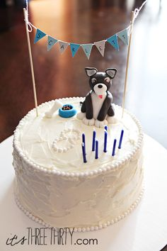 Puppy birthday cake perfect for a boy or a girl!  itsthreethirty.com