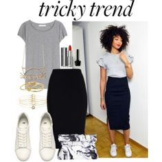 """Skirt outfits Jupon en tulle : 'Tricky Trend: Pencil Skirts and Sneakers' by joslynaurora ❤ liked o… Jupon en tulle : """"Tricky Trend: Pencil Skirts and Sneakers"""" by joslynaurora liked o Mode Outfits, Fashion Outfits, Skirt Fashion, Net Fashion, Gothic Fashion, Summer Outfits, Casual Outfits, Casual Skirts, Office Outfits"""