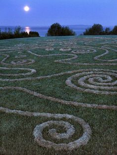 Land art by Whitney Krueger. Song for Semiahmoo. 5am . . between sunrise and moonset, with frost on the ground and grass. #earthart #landart #environmentalart