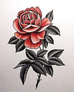 Stylish Traditional Rose Tattoo - All Fashion Ideas Here! Old Tattoos, Tattoos Skull, Body Art Tattoos, Small Tattoos, Sleeve Tattoos, Traditional Rose Tattoos, Traditional Roses, American Traditional Rose, Dibujos Tattoo