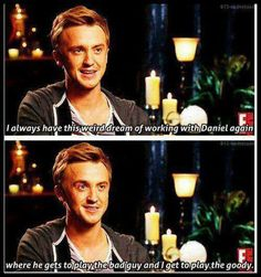 Tom Felton wants to work with Dan Radcliffe again in reverse roles.