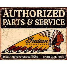 Indian Authorized Parts Service Metal Sign | Motorcycle Signs | RetroPlanet.com
