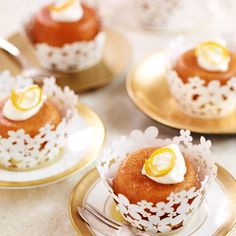 These lovely rum soaked cakes make a stylish and delicious dessert. They can be made 2 days in advance as the syrup will keep them very moist, or why not make and freeze without the syrup ready to finish off when serving? Rum Soaked Cake, Rum Cake, Flan, Just Desserts, Delicious Desserts, Italian Desserts, Italian Dishes, Italian Recipes, Baba Recipe