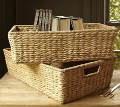 "Savannah Underbed Baskets | Pottery Barn                      Small: 20"" wide x 12"" deep x 6"" high"