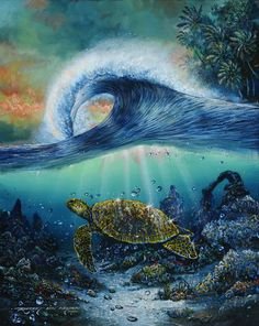 Reverence for a New Dawn by Robert Lyn Nelson ~ sea turtle curling wave under sea art oil on canvas