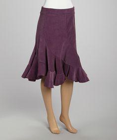 Look what I found on #zulily! Avatar Imports Plum Corduroy Trumpet Skirt by Avatar Imports #zulilyfinds