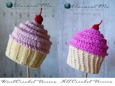PDF Crochet Pattern and Crochet/Knit pattern - Baby Cakes Cupcake Hat - Two versions in one. $4.50, via Etsy.