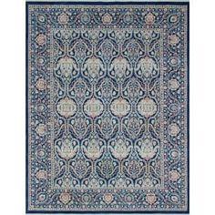 Yousafi Gulhayo Blue/Ivory Wool AreaRug (9'0 x 11'7)