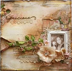 Mixed Media Scrapbook page & VIDEO TUTORIAL made by Gabrielle Pollacco for The Scrapbook Diaries. http://gabriellepollacco.blogspot.ca/2014/02/some-exciting-news-about-my-video.html  #Video Tutorial #Tutorial #Scrapbook Diaries #Gabrielle Pollacco