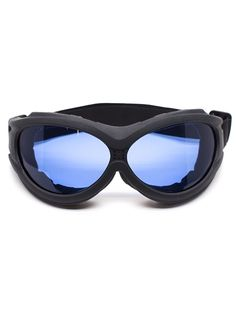 Flat Black Padded Goggles with Blue Lenses   Cyber Rave Burner Goggles