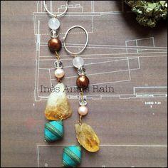 Istanbul Long Earrings Semi-Precious Stones by InesAnaisRain