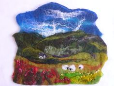 dry needle felting a landscape - Google Search