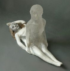 Christina Bothwell When You Sleep cast glass and raku fired clay 9 x 19 x 8 inches