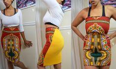 Red Gold Dashiki Harvest Highwaist Pencil Skirt by HarvestGirlLove, $60.00