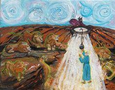 "Saatchi Online Artist Anne Cameron Cutri; Painting, ""Prophetic Message Sketch 15: Daniel,The Lion's Den, the Whirlwind"" #art"