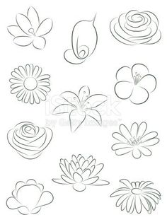 Flower Drawings Set of flowers. royalty-free set of flowers vector illustration stock vector art Doodle Drawings, Pencil Drawings, Illustration Blume, Wood Illustration, Illustration Tattoo, Drawing Techniques, Free Vector Art, Vector Graphics, Art Tutorials