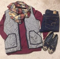 calia long sleeve, black old navy vest, skinny jeans, leopard flats or black loafers, scarf Outfits Otoño, Cute Fall Outfits, Fall Winter Outfits, Autumn Winter Fashion, Casual Outfits, Fashion Outfits, Fall Fashion, Winter Looks, Jcrew Herringbone Vest