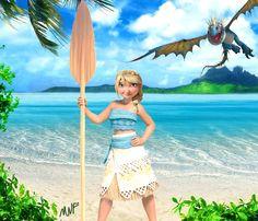 Astrid as Moana by MericcupNightFury.