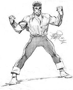 Power Man by John Byrne Comic Book Artists, Comic Book Characters, Marvel Characters, Comic Artist, Comic Character, Comic Books Art, Luke Cage Iron Fist, Superhero Groups, Man Sketch