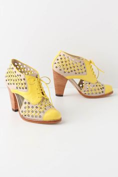 cross-stitched verna heels . yellow