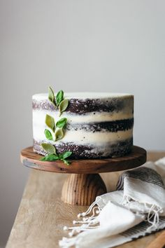 Basil marscapone buttercream-frosted chocolate cake.