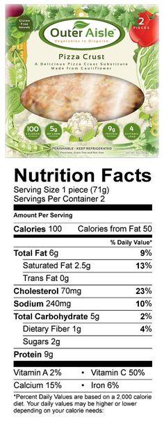 Cauliflower Pizza Crust Nutrition Facts & Information