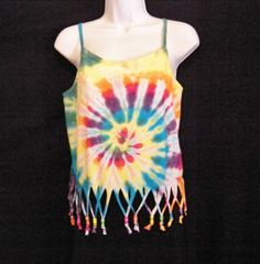 Youth Large or Adult Small Tie Dye Tank with Beaded Fringe.