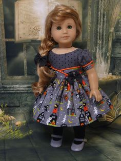 Spooky Graveyard- vintage style dress for American Girl doll